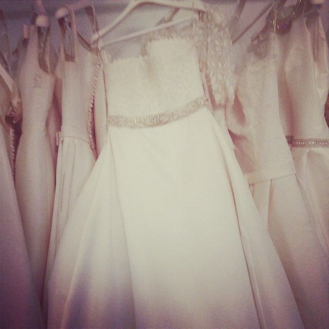 Sea if white dresses by Rosa Clara @ Designer Loft In New York City #weddings #weddingdresses #shopnyc
