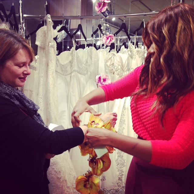 Diann Valentine helps Bride try on her Signature Bridal Cuff!