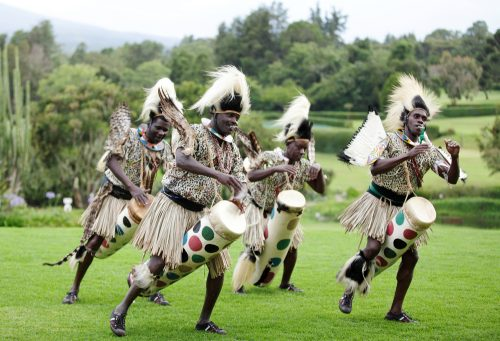 NANYUKI, KENYA-OCTOBER 17 A group of people performs African traditional folk dance  -shutterstock_164435246