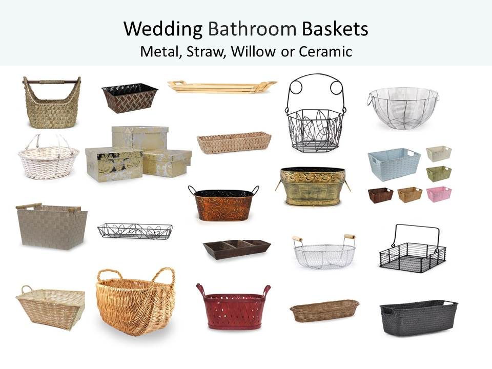 Wedding bathroom baskets add a sweet and special touch for Bathroom basket ideas for wedding