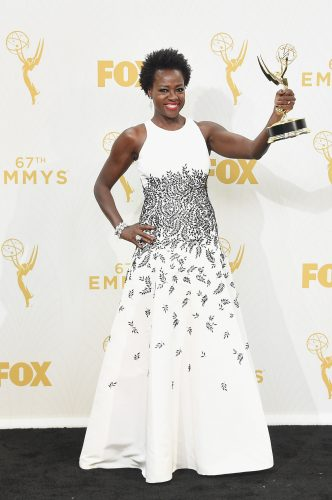 "LOS ANGELES, CA - SEPTEMBER 20:  Actress Viola Davis, winner of Outstanding Lead Actress in a Drama Series for ""How to Get Away with Murder"", poses in the press room at the 67th Annual Primetime Emmy Awards at Microsoft Theater on September 20, 2015 in Los Angeles, California.  (Photo by Jason Merritt/Getty Images)"