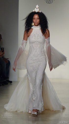julie-vino-new-york-bridal-week-fall-2016-beautiful-sheath-wedding-dress-lace-embroidery-halter-neck-bell-sleeves