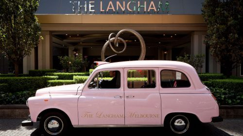 The Langham Melbourne pink taxi
